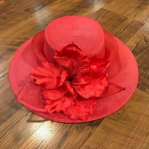 Women's Red Straw Hat with Flower